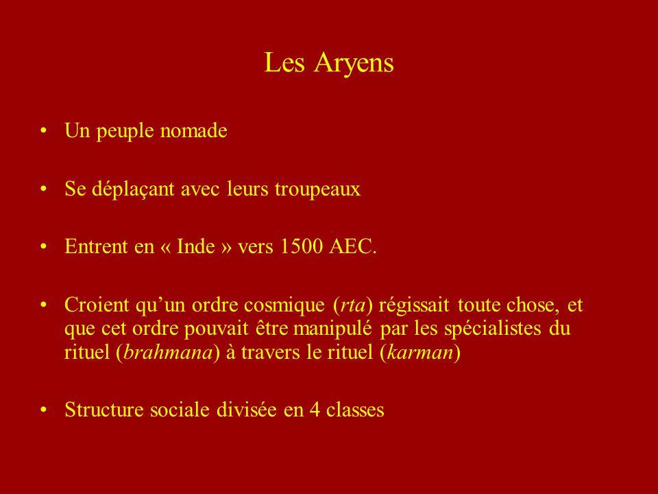 Les Aryens Un peuple nomade Se déplaçant avec leurs troupeaux Entrent en « Inde » vers 1500 AEC. Croient quun ordre cosmique (rta) régissait toute cho