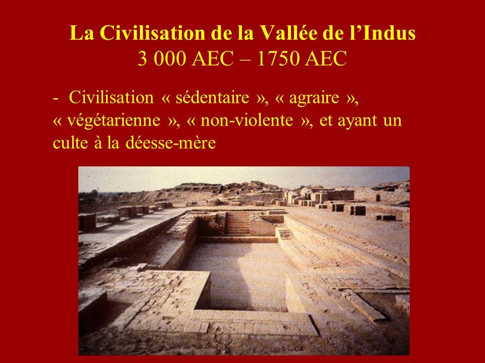 La Civilisation de la Vallée de lIndus 3 000 AEC – 1750 AEC - Civilisation « sédentaire », « agraire », « végétarienne », « non-violente », et ayant u