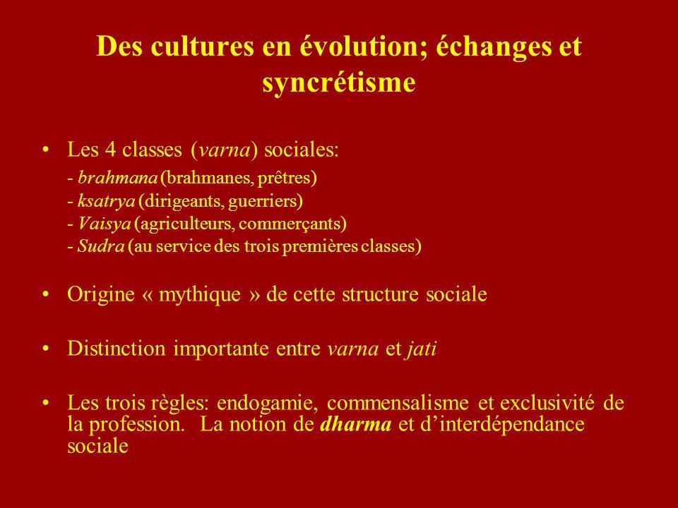 Des cultures en évolution; échanges et syncrétisme Les 4 classes (varna) sociales: - brahmana (brahmanes, prêtres) - ksatrya (dirigeants, guerriers) -