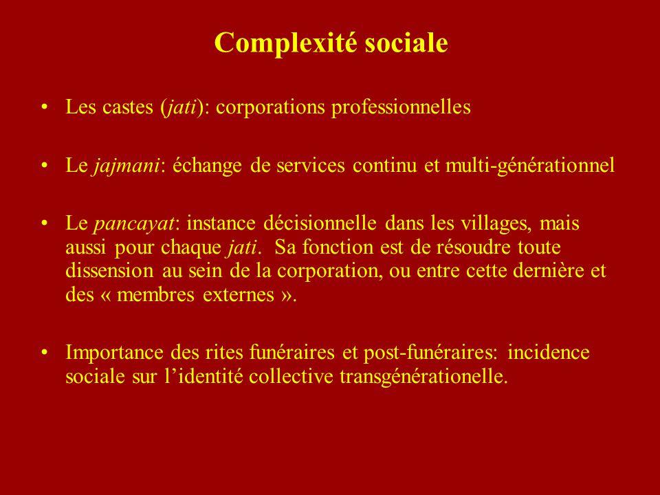 Complexité sociale Les castes (jati): corporations professionnelles Le jajmani: échange de services continu et multi-générationnel Le pancayat: instan