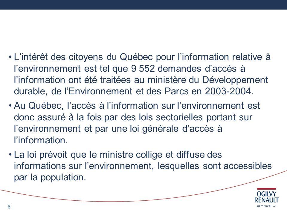 29 2) La Loi canadienne sur lévaluation environnementale La participation des citoyens est un élément essentiel de la législation fédérale sur les évaluations environnementales.