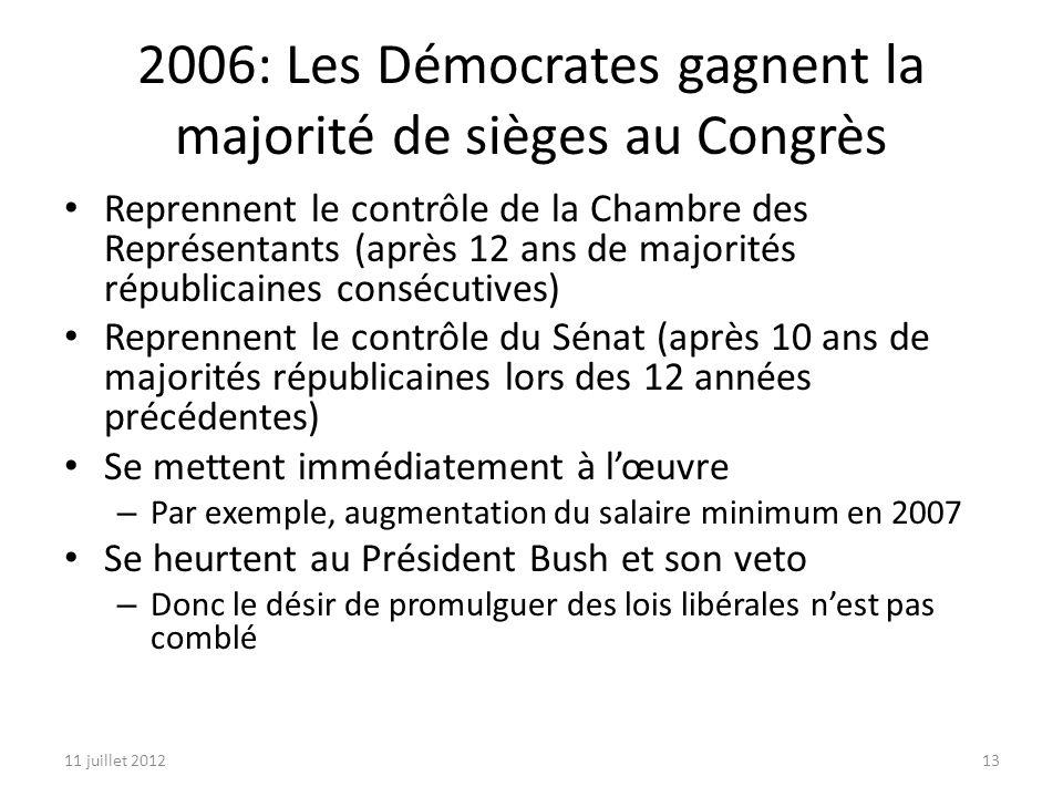 11 juillet 201213 2006: Les Démocrates gagnent la majorité de sièges au Congrès Reprennent le contrôle de la Chambre des Représentants (après 12 ans de majorités républicaines consécutives) Reprennent le contrôle du Sénat (après 10 ans de majorités républicaines lors des 12 années précédentes) Se mettent immédiatement à lœuvre – Par exemple, augmentation du salaire minimum en 2007 Se heurtent au Président Bush et son veto – Donc le désir de promulguer des lois libérales nest pas comblé