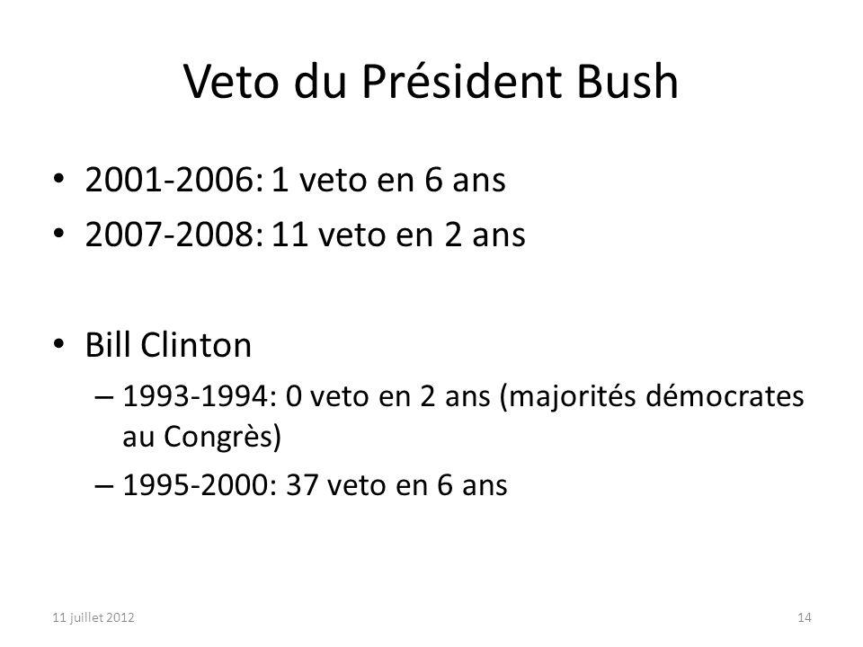 11 juillet 201214 Veto du Président Bush 2001-2006: 1 veto en 6 ans 2007-2008: 11 veto en 2 ans Bill Clinton – 1993-1994: 0 veto en 2 ans (majorités démocrates au Congrès) – 1995-2000: 37 veto en 6 ans
