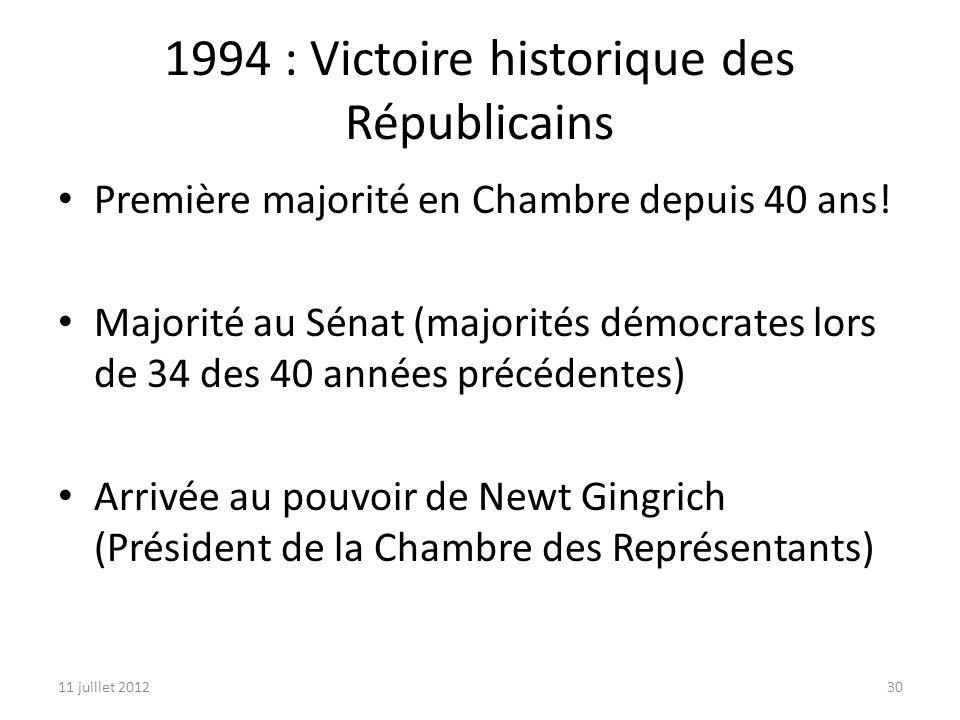11 juillet 201230 1994 : Victoire historique des Républicains Première majorité en Chambre depuis 40 ans.