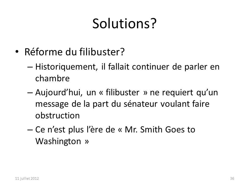 11 juillet 201236 Solutions. Réforme du filibuster.