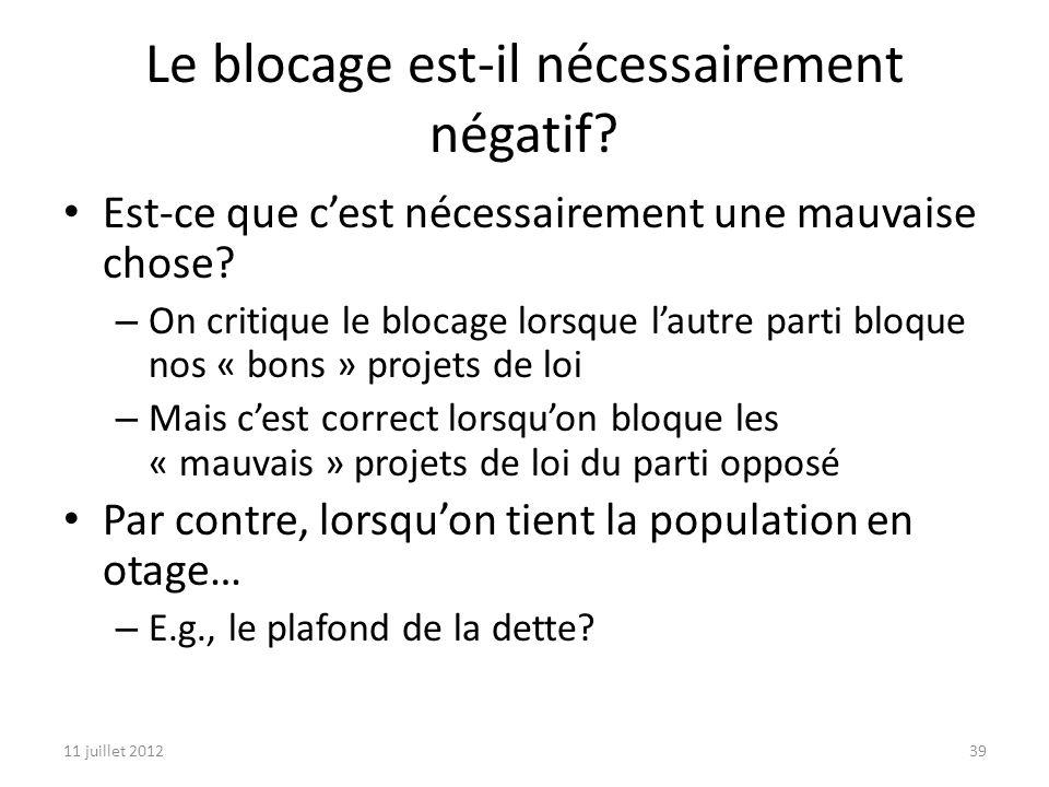 11 juillet 201239 Le blocage est-il nécessairement négatif.
