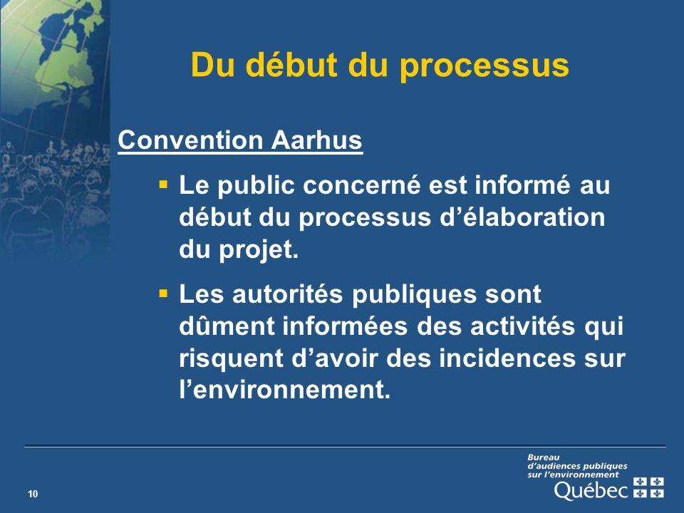 10 Du début du processus Convention Aarhus Le public concerné est informé au début du processus délaboration du projet.
