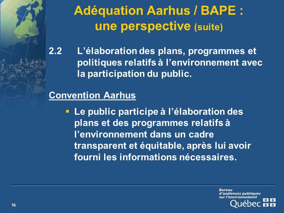 16 Adéquation Aarhus / BAPE : une perspective (suite) 2.2Lélaboration des plans, programmes et politiques relatifs à lenvironnement avec la participation du public.