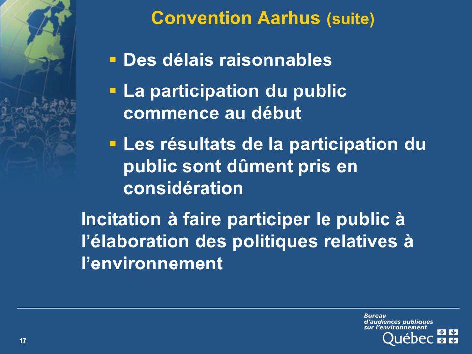 17 Convention Aarhus (suite) Des délais raisonnables La participation du public commence au début Les résultats de la participation du public sont dûment pris en considération Incitation à faire participer le public à lélaboration des politiques relatives à lenvironnement