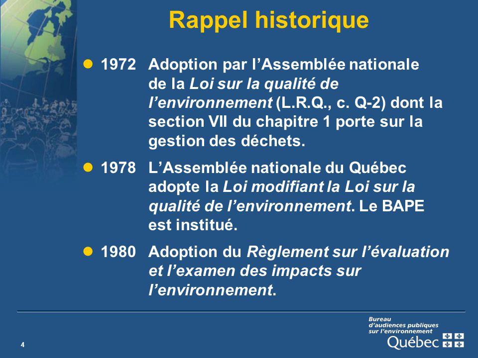 4 Rappel historique 1972Adoption par lAssemblée nationale de la Loi sur la qualité de lenvironnement (L.R.Q., c.