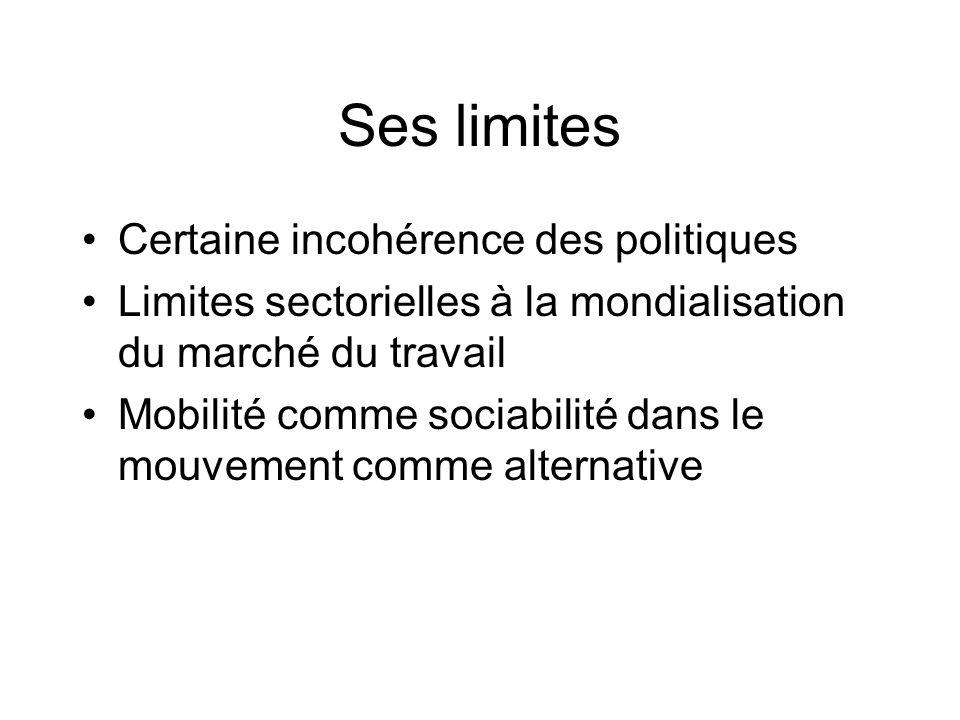 Ses limites Certaine incohérence des politiques Limites sectorielles à la mondialisation du marché du travail Mobilité comme sociabilité dans le mouve