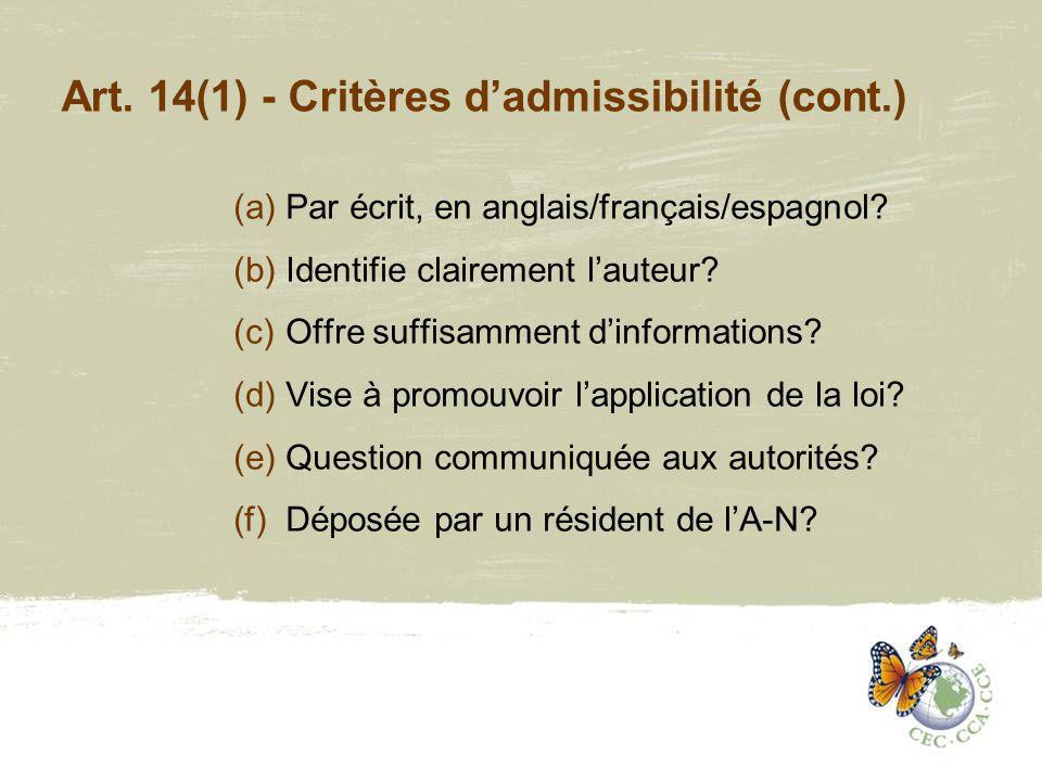 Art.14(2) – Demande dune réponse. (a)Allégation dun préjudice.