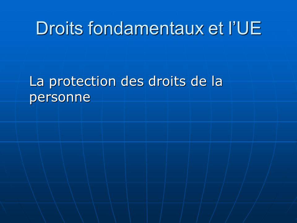 Droits fondamentaux et lUE La protection des droits de la personne