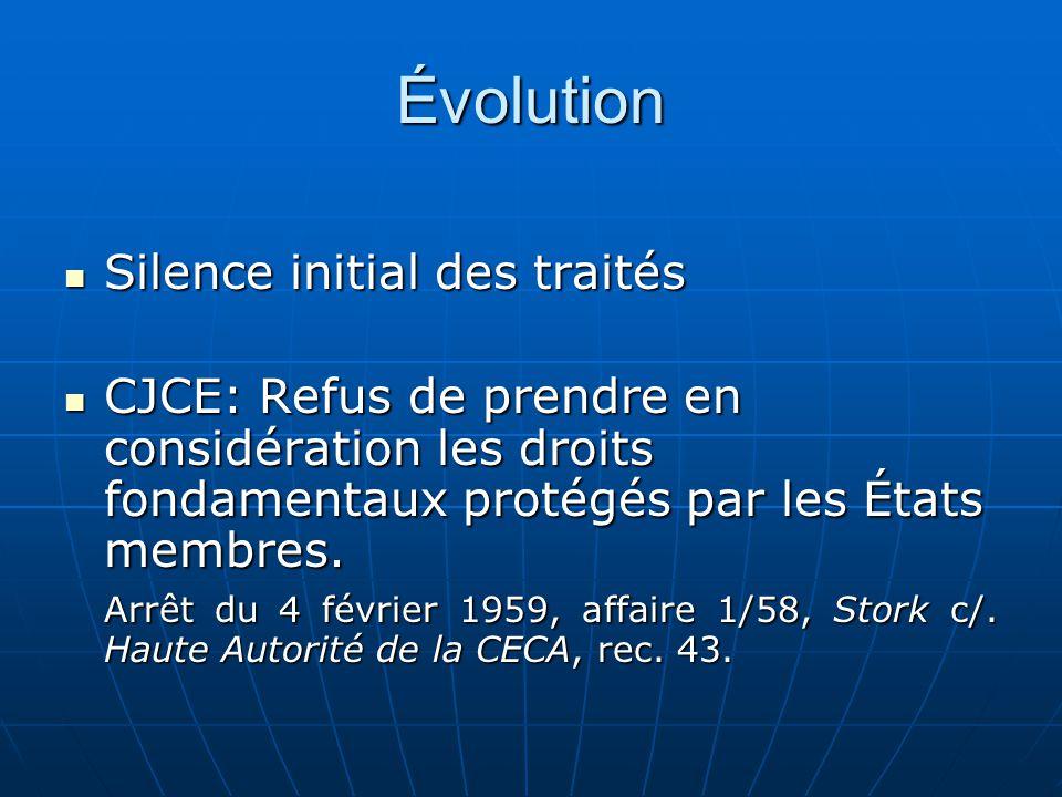 Évolution Silence initial des traités Silence initial des traités CJCE: Refus de prendre en considération les droits fondamentaux protégés par les Éta
