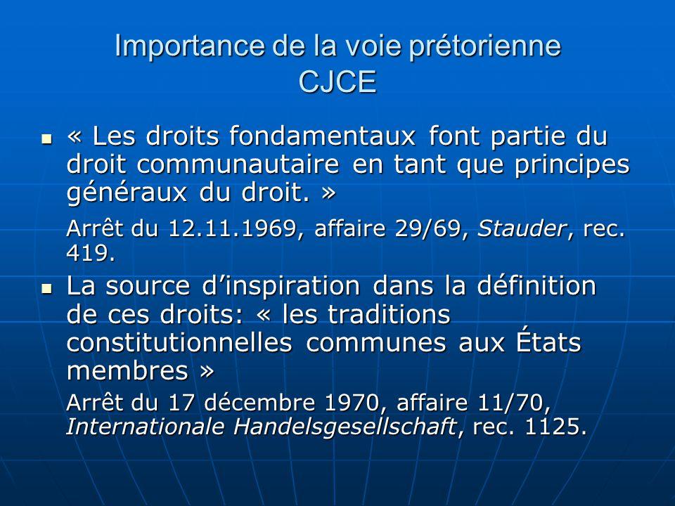 Importance de la voie prétorienne CJCE « Les droits fondamentaux font partie du droit communautaire en tant que principes généraux du droit. » « Les d