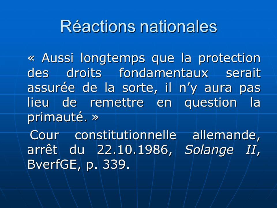 Réactions nationales « Aussi longtemps que la protection des droits fondamentaux serait assurée de la sorte, il ny aura pas lieu de remettre en questi