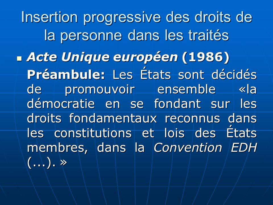 Insertion progressive des droits de la personne dans les traités Acte Unique européen (1986) Acte Unique européen (1986) Préambule: Les États sont déc