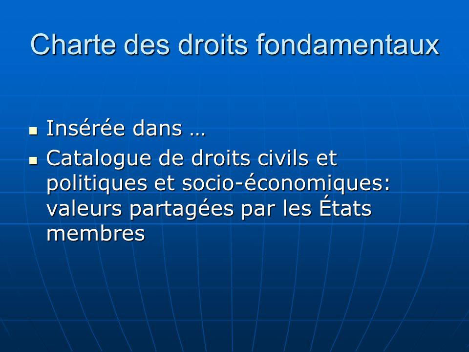 Charte des droits fondamentaux Insérée dans … Insérée dans … Catalogue de droits civils et politiques et socio-économiques: valeurs partagées par les