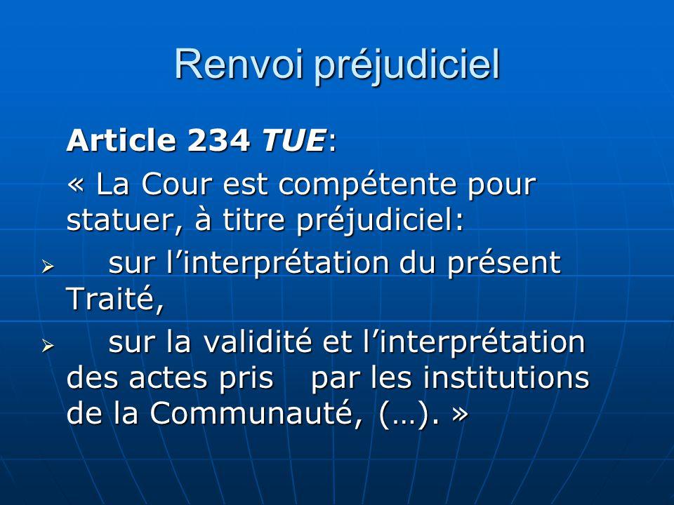 Renvoi préjudiciel Article 234 TUE: « La Cour est compétente pour statuer, à titre préjudiciel: sur linterprétation du présent Traité, sur linterpréta