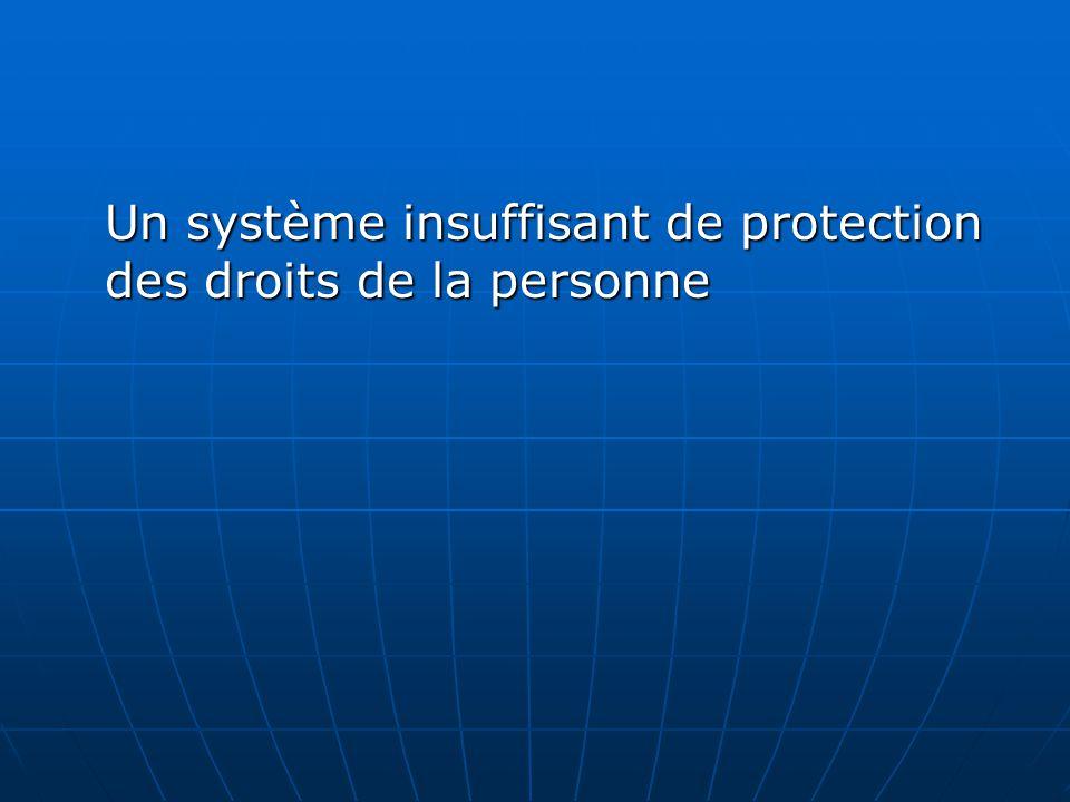 Un système insuffisant de protection des droits de la personne