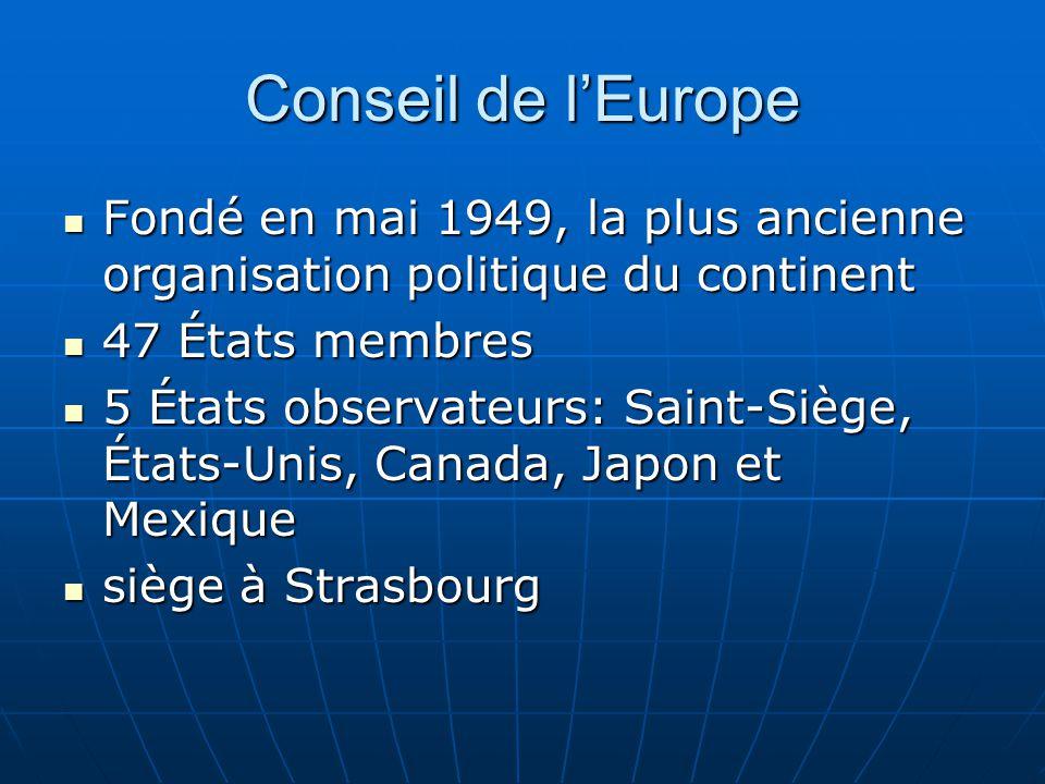 Conseil de lEurope Fondé en mai 1949, la plus ancienne organisation politique du continent Fondé en mai 1949, la plus ancienne organisation politique