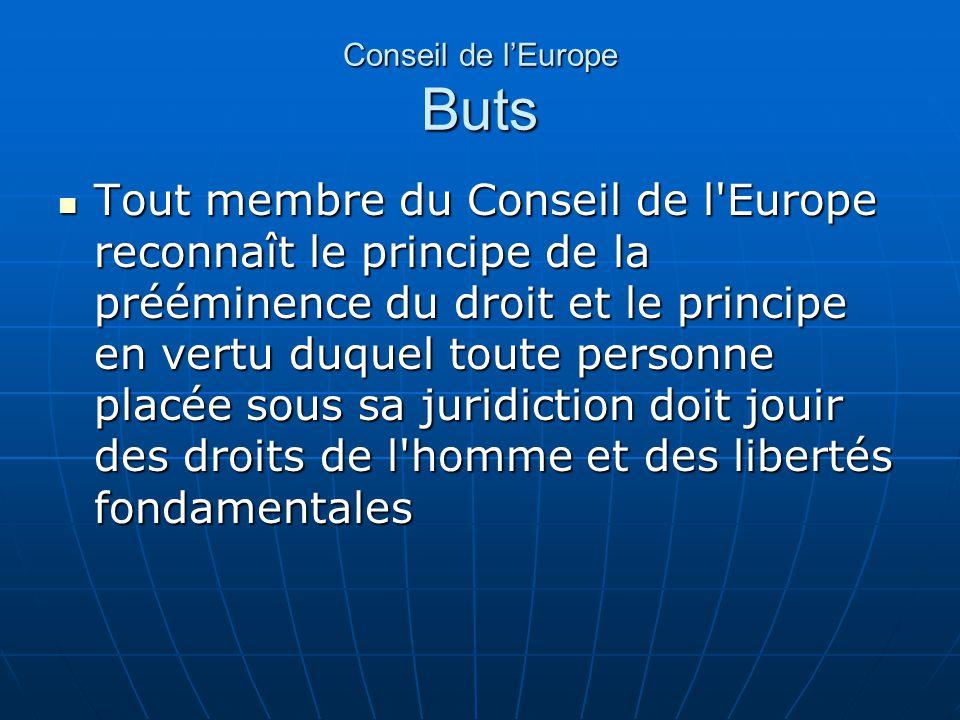 Conseil de lEurope Buts Tout membre du Conseil de l'Europe reconnaît le principe de la prééminence du droit et le principe en vertu duquel toute perso