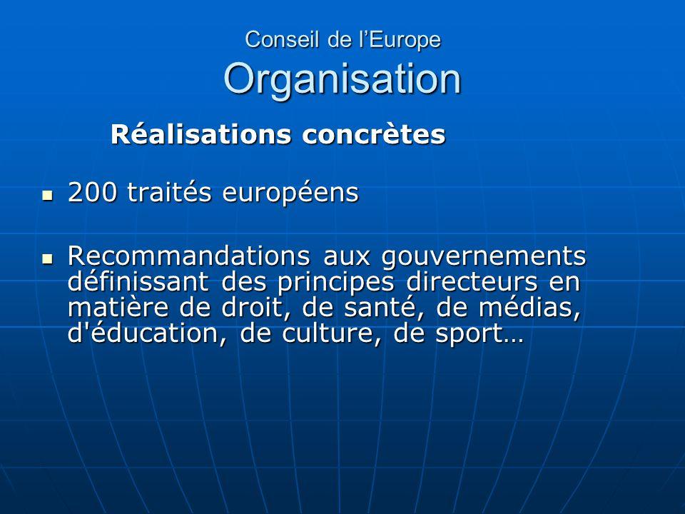 Conseil de lEurope Organisation Réalisations concrètes 200 traités européens 200 traités européens Recommandations aux gouvernements définissant des p