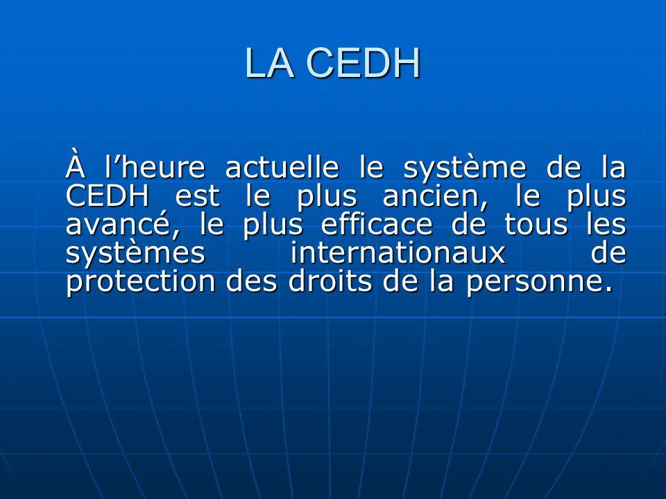 LA CEDH À lheure actuelle le système de la CEDH est le plus ancien, le plus avancé, le plus efficace de tous les systèmes internationaux de protection