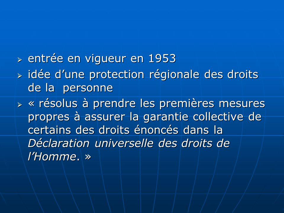 entrée en vigueur en 1953 entrée en vigueur en 1953 idée dune protection régionale des droits de la personne idée dune protection régionale des droits