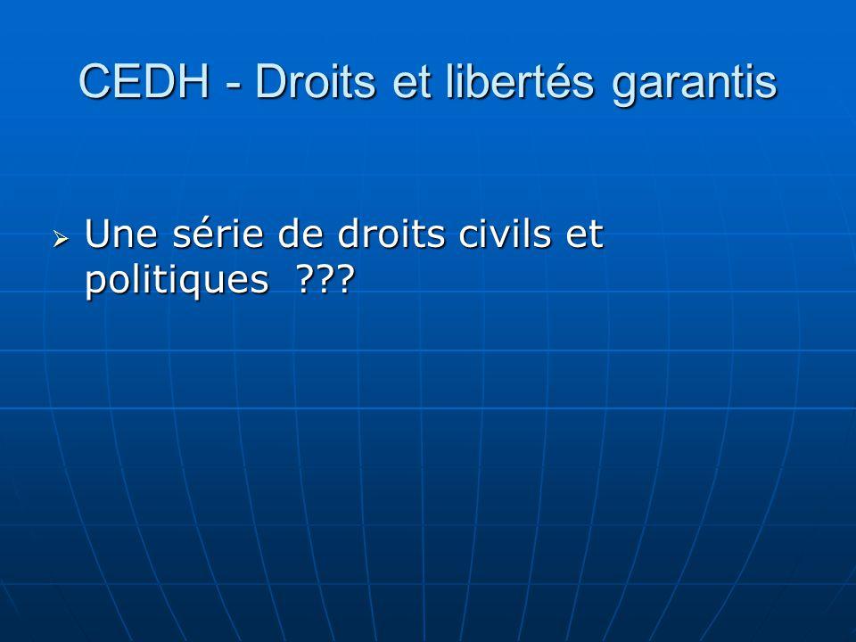 CEDH - Droits et libertés garantis Une série de droits civils et politiques ??? Une série de droits civils et politiques ???