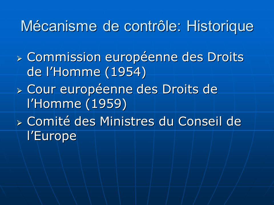 Mécanisme de contrôle: Historique Commission européenne des Droits de lHomme (1954) Commission européenne des Droits de lHomme (1954) Cour européenne
