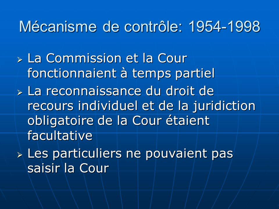 Mécanisme de contrôle: 1954-1998 La Commission et la Cour fonctionnaient à temps partiel La Commission et la Cour fonctionnaient à temps partiel La re