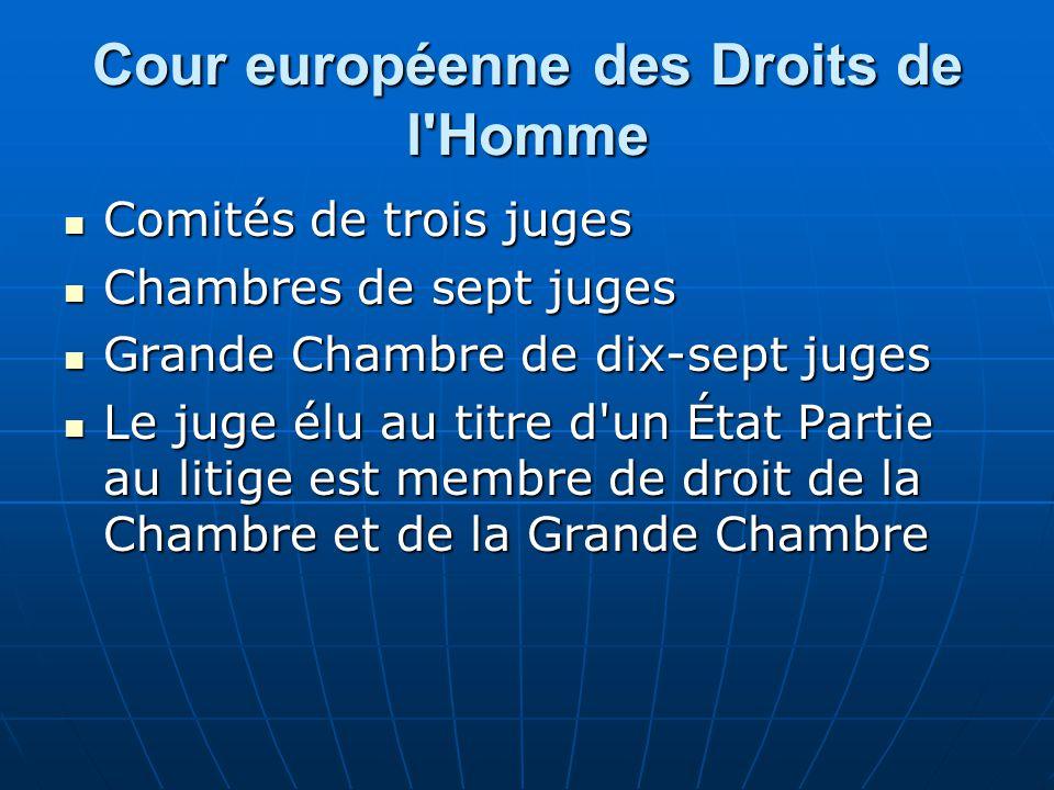 Cour européenne des Droits de l'Homme Comités de trois juges Comités de trois juges Chambres de sept juges Chambres de sept juges Grande Chambre de di