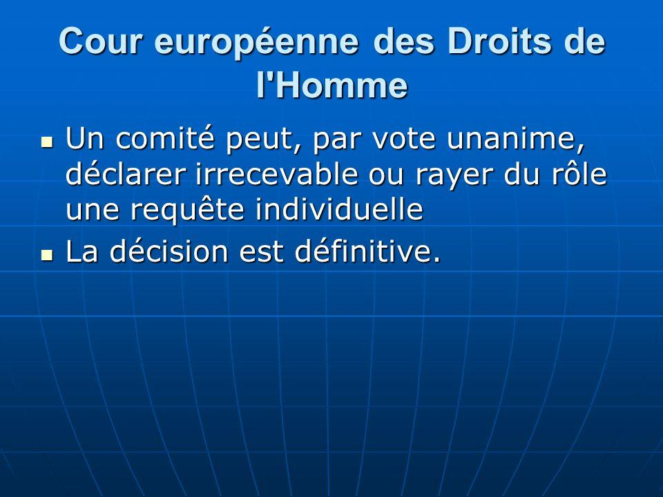 Cour européenne des Droits de l'Homme Un comité peut, par vote unanime, déclarer irrecevable ou rayer du rôle une requête individuelle Un comité peut,