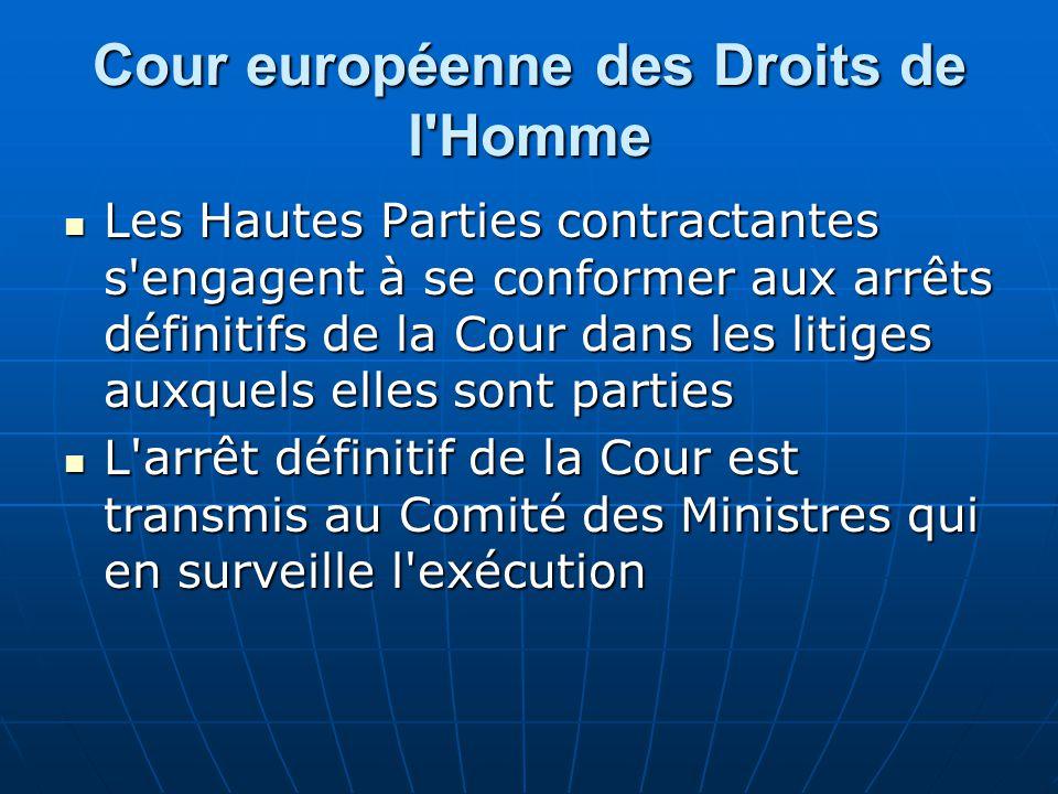 Cour européenne des Droits de l'Homme Les Hautes Parties contractantes s'engagent à se conformer aux arrêts définitifs de la Cour dans les litiges aux
