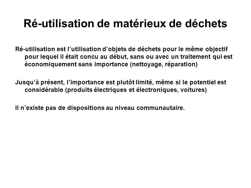 Ré-utilisation de matérieux de déchets Ré-utilisation est lutilisation dobjets de déchets pour le même objectif pour lequel il était concu au début, s