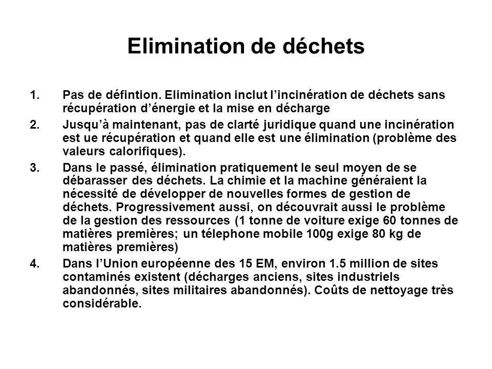 Elimination de déchets 1.Pas de défintion. Elimination inclut lincinération de déchets sans récupération dénergie et la mise en décharge 2.Jusquà main