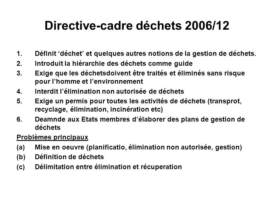 Directive-cadre déchets 2006/12 1.Définit déchet et quelques autres notions de la gestion de déchets. 2.Introduit la hiérarchie des déchets comme guid