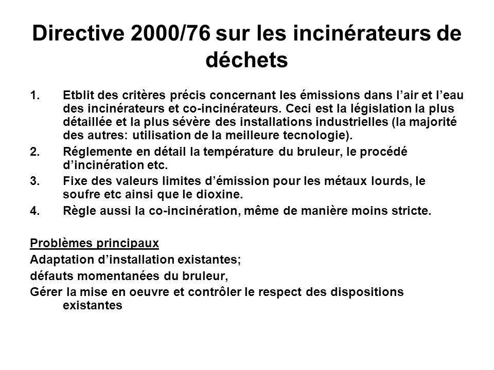 Directive 2000/76 sur les incinérateurs de déchets 1.Etblit des critères précis concernant les émissions dans lair et leau des incinérateurs et co-inc