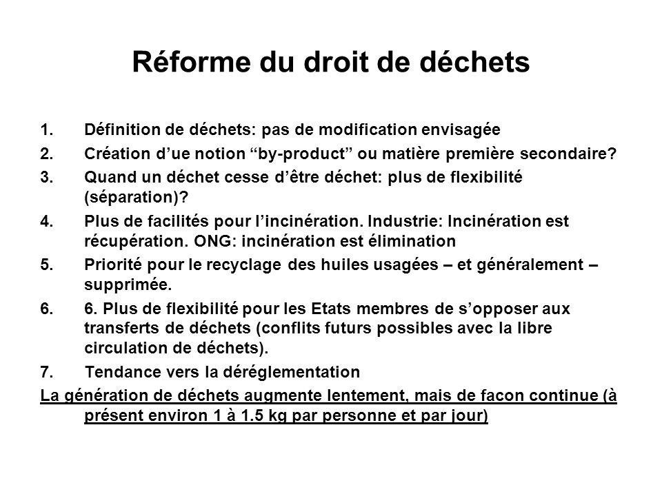 Réforme du droit de déchets 1.Définition de déchets: pas de modification envisagée 2.Création due notion by-product ou matière première secondaire? 3.