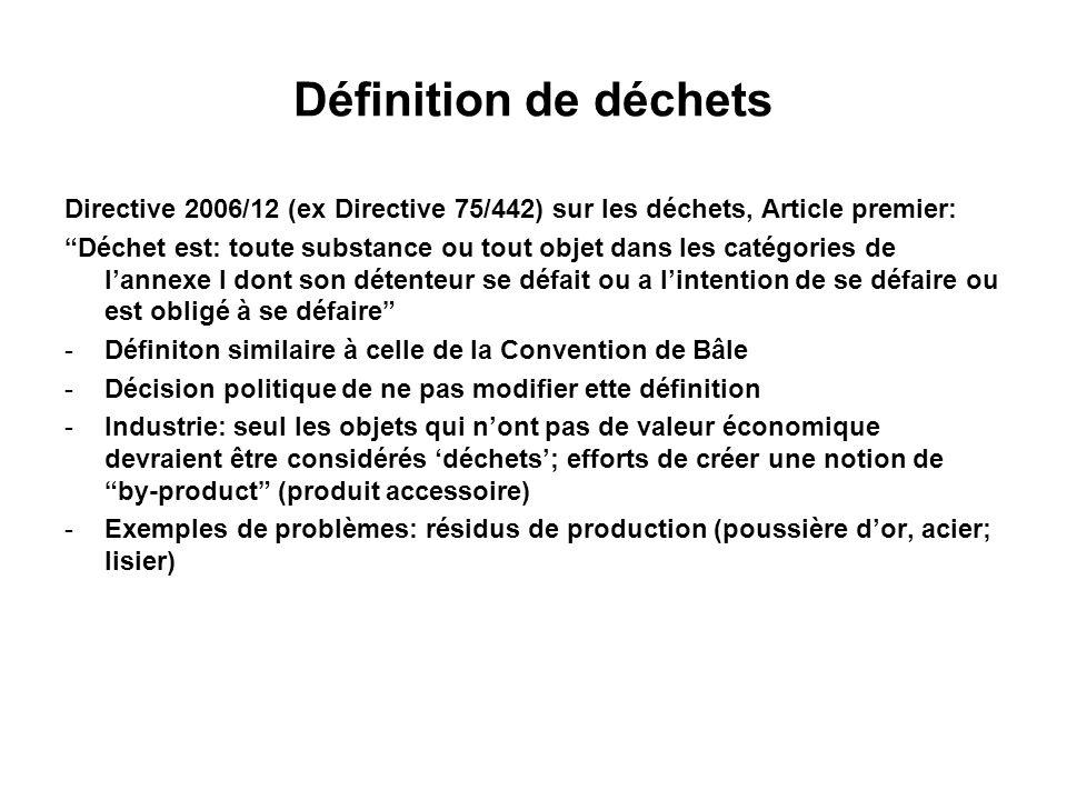 Définition de déchets Directive 2006/12 (ex Directive 75/442) sur les déchets, Article premier: Déchet est: toute substance ou tout objet dans les cat