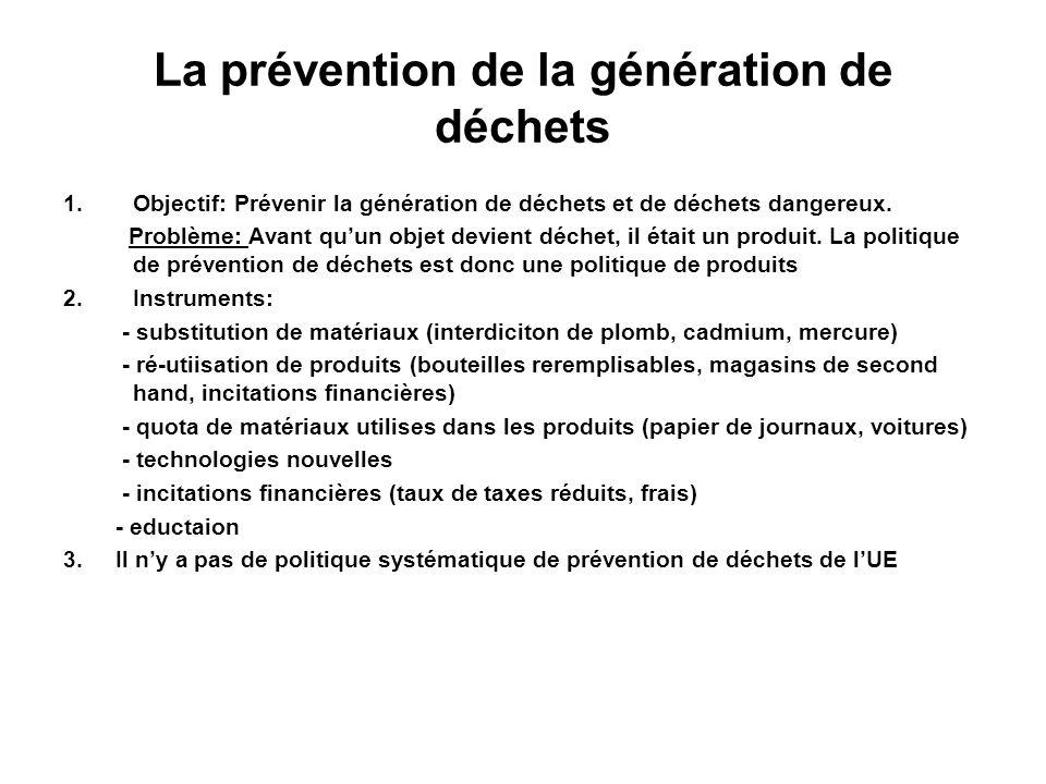 La prévention de la génération de déchets 1.Objectif: Prévenir la génération de déchets et de déchets dangereux. Problème: Avant quun objet devient dé
