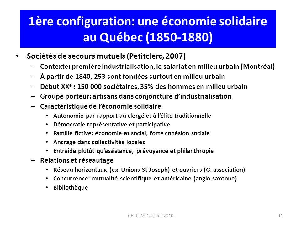 11 1ère configuration: une économie solidaire au Québec (1850-1880) Sociétés de secours mutuels (Petitclerc, 2007) – Contexte: première industrialisat
