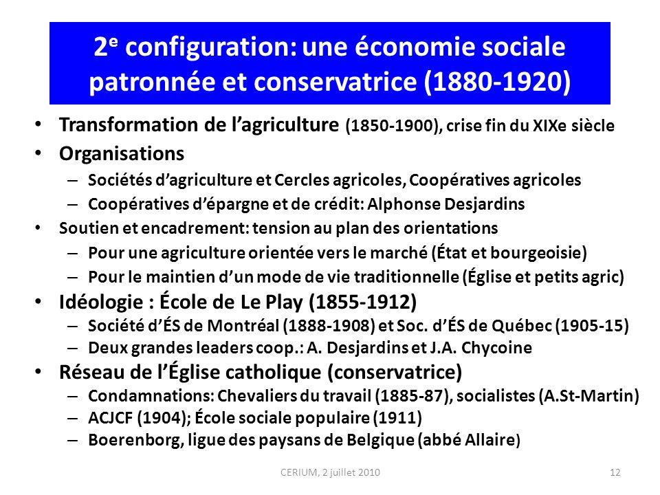 2 e configuration: une économie sociale patronnée et conservatrice (1880-1920) Transformation de lagriculture (1850-1900), crise fin du XIXe siècle Or