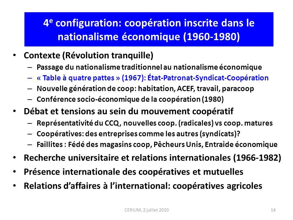 4 e configuration: coopération inscrite dans le nationalisme économique (1960-1980) Contexte (Révolution tranquille) – Passage du nationalisme traditi