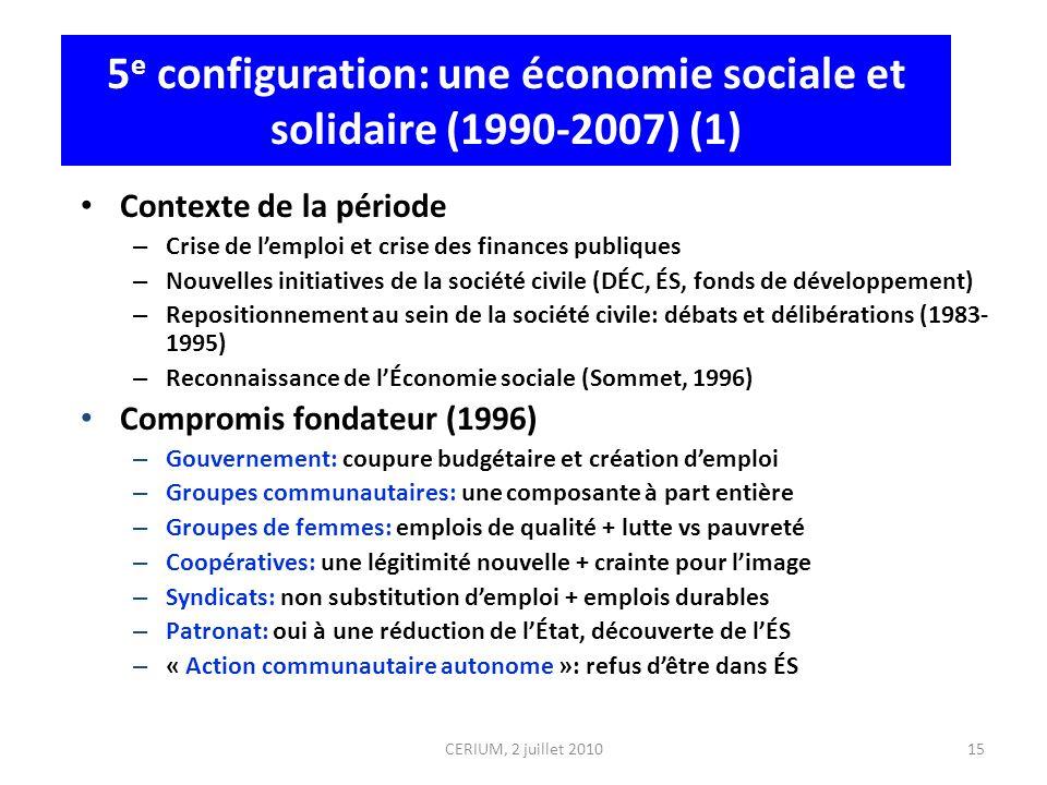 5 e configuration: une économie sociale et solidaire (1990-2007) (1) Contexte de la période – Crise de lemploi et crise des finances publiques – Nouve