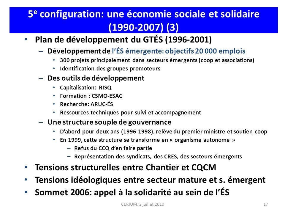 17 5 e configuration: une économie sociale et solidaire (1990-2007) (3) Plan de développement du GTÉS (1996-2001) – Développement de lÉS émergente: ob