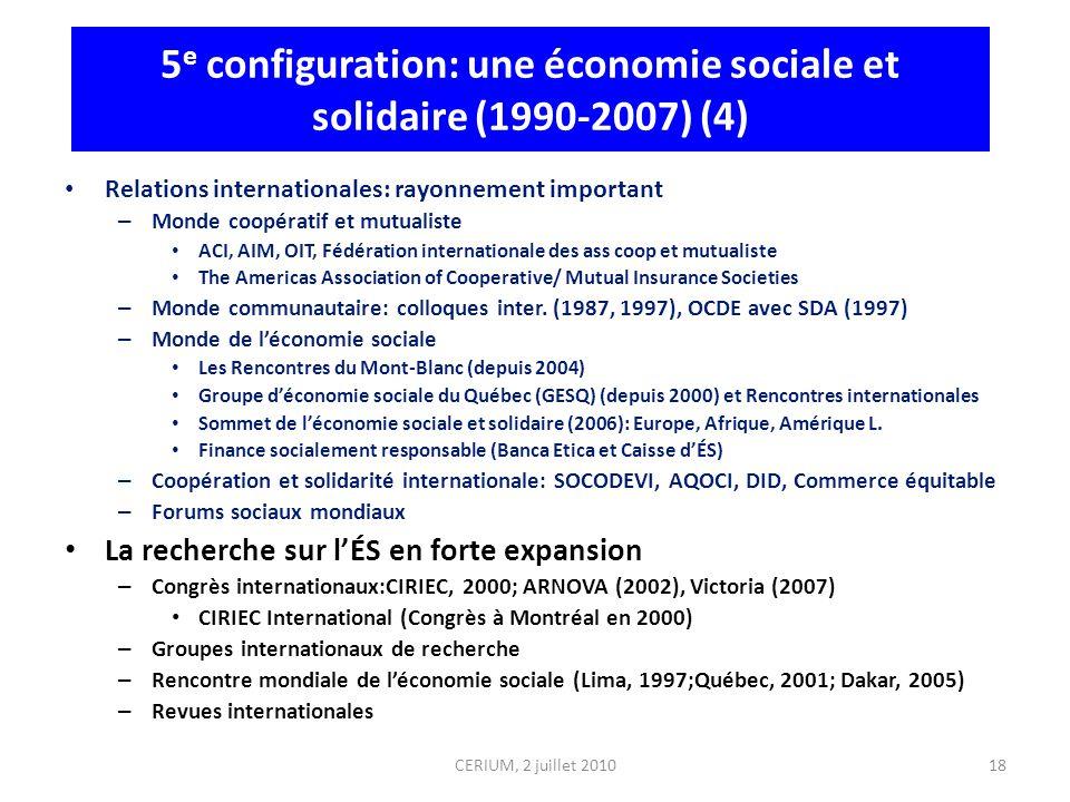 18 5 e configuration: une économie sociale et solidaire (1990-2007) (4) Relations internationales: rayonnement important – Monde coopératif et mutuali