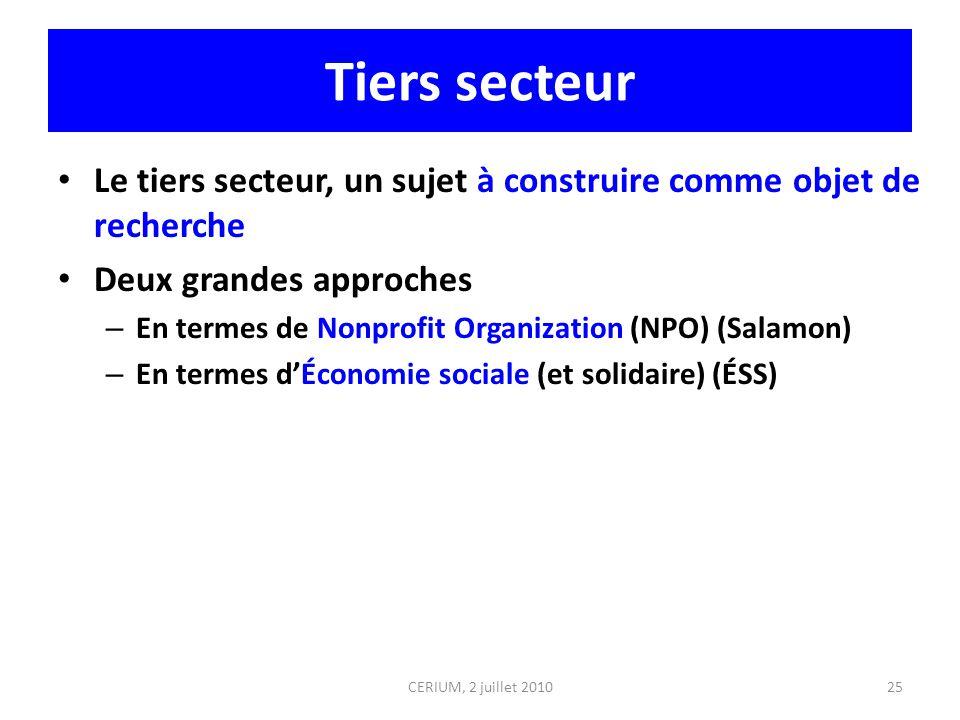 Tiers secteur Le tiers secteur, un sujet à construire comme objet de recherche Deux grandes approches – En termes de Nonprofit Organization (NPO) (Sal