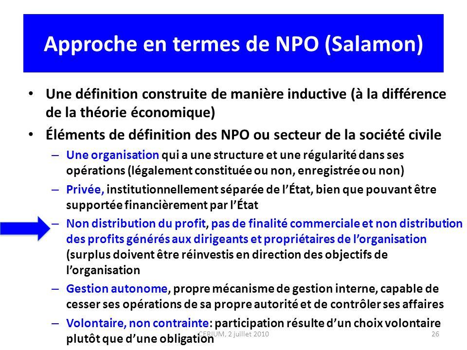 Approche en termes de NPO (Salamon) Une définition construite de manière inductive (à la différence de la théorie économique) Éléments de définition d